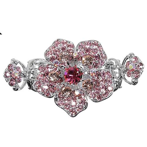 Haarklem roze. Klem met Swarovski kristallen.