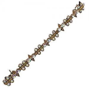 Haarband met witte en opaalkleurige kristallen
