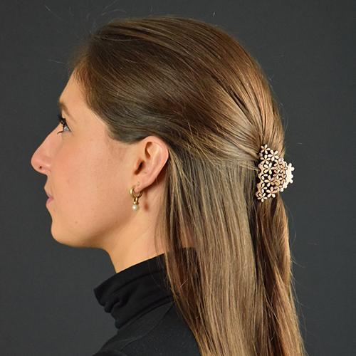 Haarklem roze met bloemen