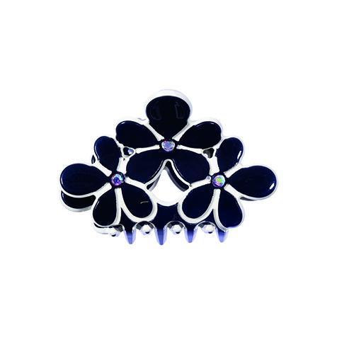 Haarklem zwart met bloemen